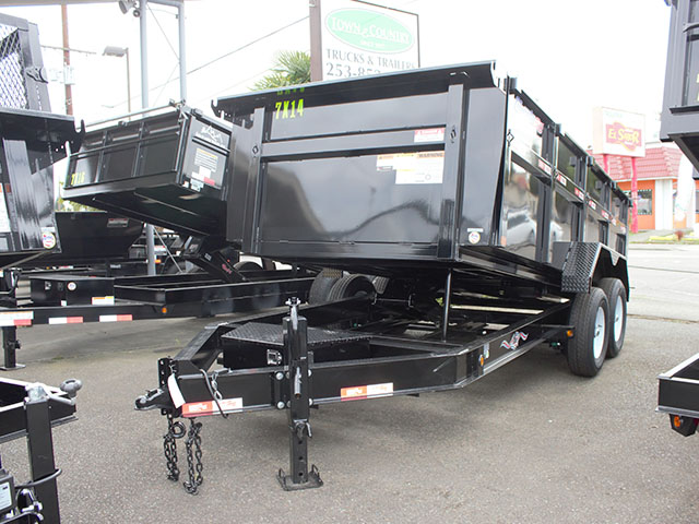 2021 LIBERTY 7 ft. x 14 ft. x 44 in. tall sided dump trailer from Town and Country Truck and Trailer Sales, Kent (Seattle), WA.