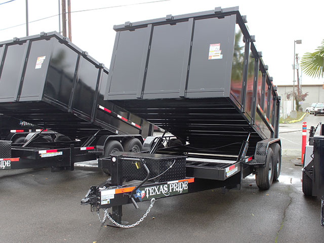 2021 Texas Pride 7 ft. x 14 ft. x 48 in. tall sided dump trailer from Town and Country Truck and Trailer Sales, Kent (Seattle), WA.