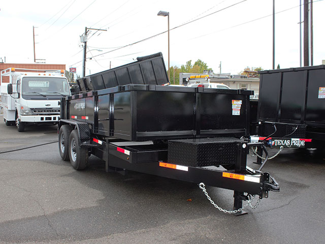 6510.B. 2021 Texas Pride 7 ft. x 14 ft. dump trailer from Town and Country Truck and Trailer Sales, Kent (Seattle), WA.