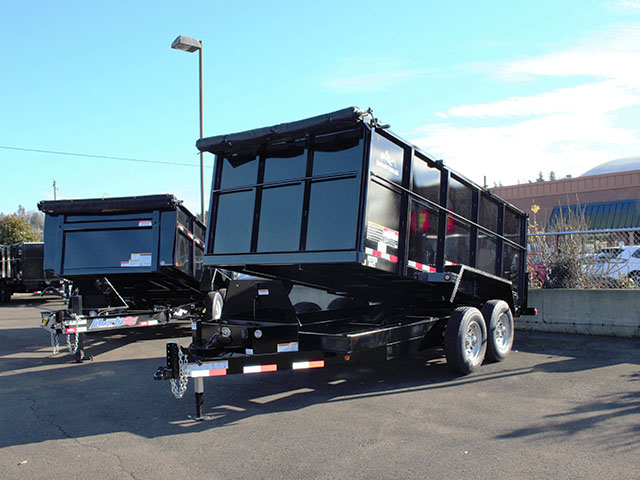 2021 Snake River, 7 ft. x 14 ft. x 48 in. tall sided dump trailer from Town and Country Truck and Trailer Sales, Kent (Seattle), WA.