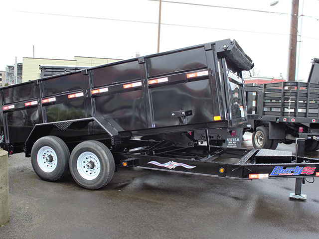 6537.B. 2021 Liberty 83 in. x 14 ft. x 42 in. tall sided dump trailer from Town and Country Truck and Trailer Sales, Kent (Seattle), WA.